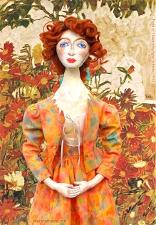 Wally muse imagined in the Garden at Krumau, set against 'Field of Flowers' by Egon Schiele. Designed, sculpted, modelled and painted by Marina Elphick.