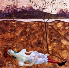 Wally muse in River Landscape, 1913 by Egon Schiele. Muses designed, sculpted, modelled and painted by Marina Elphick.
