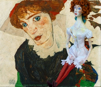 Portrait of Wally Neuzil 1912, by Egon Schiele, with Wally muse. Muse designed, sculpted, modelled and painted by Marina Elphick.