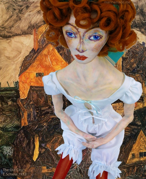 Muse, Wally Neuzil at 'The Old City', Egon Schiele, 1912. Wally muse designed, sculpted, modelled and painted by Marina Elphick.