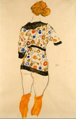 'Woman standing wearing a patterned blouse', 1912. Egon Schiele.