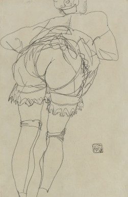 Girl Bending Forward, pencil, by Egon Schiele, 1913.