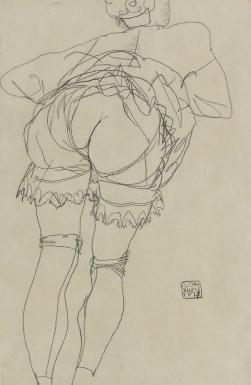 Girl Bending Forward, pencil, by Egon Schiele, 1913.