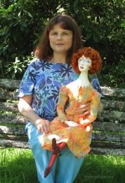 Marina with her muse, Wally Neuzil. Muse of Wally Neuzil, designed, sculpted, modelled and painted by Marina Elphick.