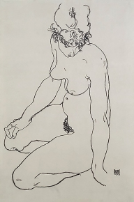 Seated female nude 1918, by Egon Schiele.