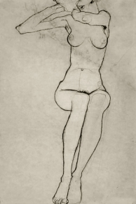 Seated nude, pencil 1910, Egon Schiele.