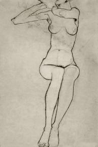 Seated nude, pencil 1910, Egon Schiele.