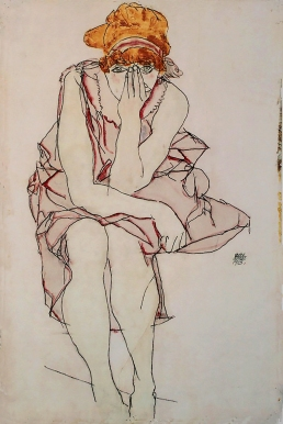 Seated Young Lady, Egon Schiele, 1913, Wally Neuzil.