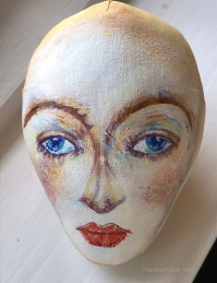 Head of Wally Neuzil, designed, sculpted and painted by Marina Elphick.