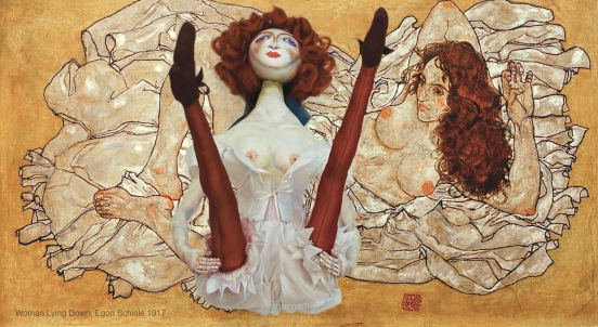 Wally imagined posing for Schiele with another model in 'Woman Lying down', Egon Schiele 1917. Wally muse designed, sculpted, modelled and painted by Marina Elphick.