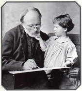 Edward Burne-Jones with his granddaughter Angela.