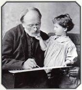 Edward Burne-Jones with his granddaughter Angela.