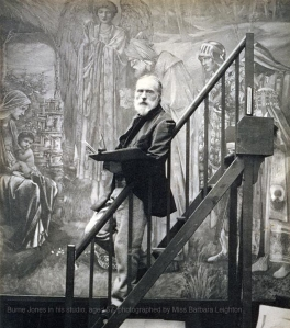 Edward Burne-Jones painting in his studio, aged 57, photographed by Miss Barbara Leighton.