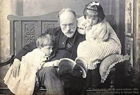 Edward Burne-Jones with is grandchildren, Denis and Angela, from a photo by Henry and Richard Stiles, 1895.