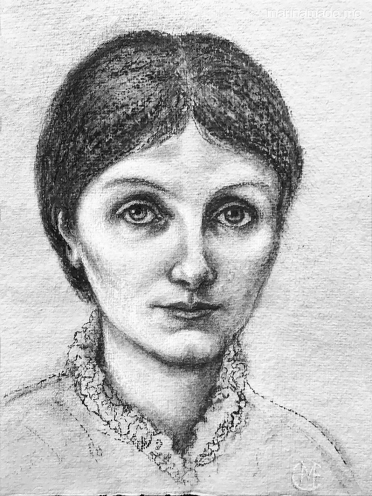 Charcoal drawing of Georgiana Burne-Jones, by Marina Elphick 2018.Georgiana Burne-Jones muse designed, sculpted, modelled and painted by Marina ElphickGeorgiana Burne-Jones muse designed, sculpted, modelled and painted by Marina Elphick. Marina's muses at marinamade.me