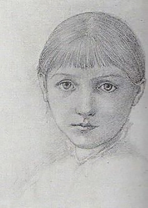 Drawing of Margaret as a young girl, by Edward Burne-Jones.