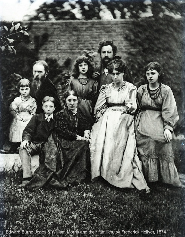 Edward Burne-Jones, William Morris and their families in 1874, photograph by Frederick Hollyer.