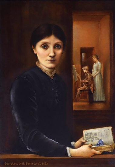 Burne-Jones' hauntingly beautiful portrait of his wife Georgiana, with their two children Margaret and Philip in the background,1883.Edward Burne-Jones.