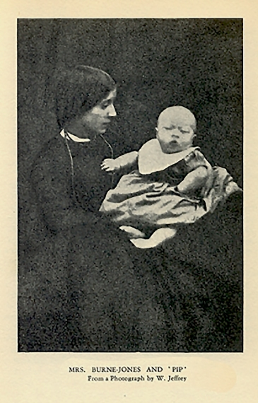 "Georgiana Burne-Jones with her first child, ""Pip"", photographed by W. Jeffrey."