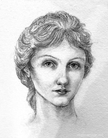 Drawing of a young Georgiana Burne-Jone, by Marina Elphick, 2018. Georgiana Burne-Jones muse designed, sculpted, modelled and painted by Marina ElphickGeorgiana Burne-Jones muse designed, sculpted, modelled and painted by Marina Elphick. Marina's muses at marinamade.me