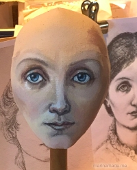 Georgiana muse head with features sketched. Burne-Jones muse designed, sculpted, modelled and painted by Marina Elphick.Georgiana Burne-Jones muse designed, sculpted, modelled and painted by Marina Elphick. Marina's muses at marinamade.me