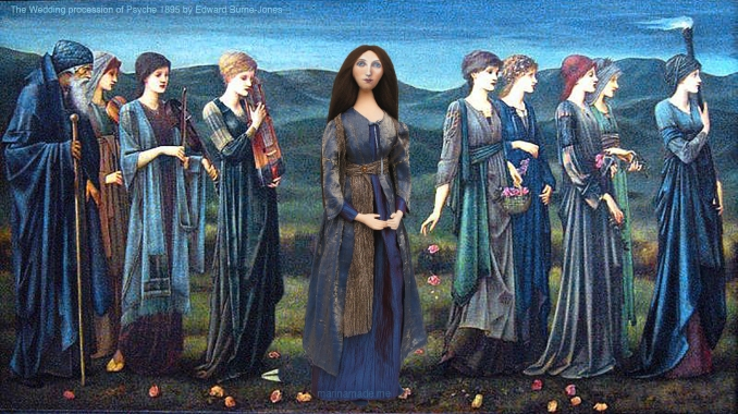 "Georgiana muse in the ""Wedding Procession of Psyche"", 1895 by Edward Burne-Jones. Sisterhood. Georgiana Burne-Jones muse designed, sculpted, modelled and painted by Marina ElphickGeorgiana Burne-Jones muse designed, sculpted, modelled and painted by Marina Elphick. Marina's muses at marinamade.me"