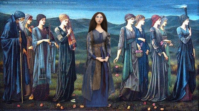 "Georgiana muse in the ""Wedding Procession of Psyche"", 1895 by Edward Burne-Jones. Sisterhood. Georgiana Burne-Jones muse designed, sculpted, modelled and painted by Marina ElphickGeorgiana Burne-Jones muse designed, sculpted, modelled and painted by Marina Elphick. Marina's muses at marinamade.me"