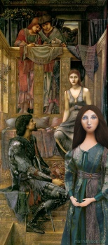 """Georgiana muse with """"King Cophetua and The Beggar Maid"""", by Edward Burne-Jones. Georgiana Burne-Jones muse designed, sculpted, modelled and painted by Marina ElphickGeorgiana Burne-Jones muse designed, sculpted, modelled and painted by Marina Elphick. Marina's muses at marinamade.me"""