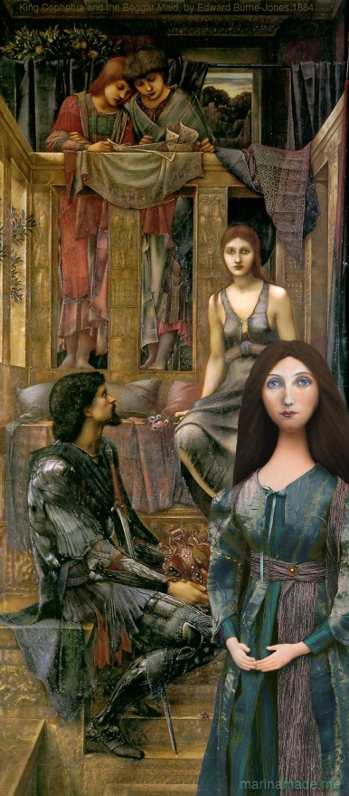 "Georgiana muse with ""King Cophetua and The Beggar Maid"", by Edward Burne-Jones. Georgiana Burne-Jones muse designed, sculpted, modelled and painted by Marina ElphickGeorgiana Burne-Jones muse designed, sculpted, modelled and painted by Marina Elphick. Marina's muses at marinamade.me"