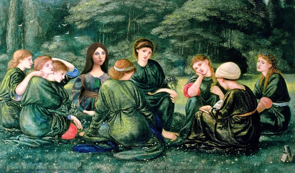 """Georgiana muse sitting with sisters and friends in """"Green summer"""", by Edward Burne-Jones. Sisterhood. Georgiana Burne-Jones muse designed, sculpted, modelled and painted by Marina ElphickGeorgiana Burne-Jones muse designed, sculpted, modelled and painted by Marina Elphick. Marina's muses at marinamade.me"""