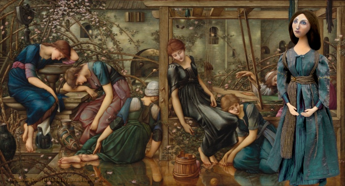 """Georgiana muse in """"The Garden Court"""", part of 'The Briar Rose' series (1874-84).Sisterhood.Georgiana Burne-Jones muse designed, sculpted, modelled and painted by Marina Elphick.Georgiana Burne-Jones muse designed, sculpted, modelled and painted by Marina Elphick. Marina's muses at marinamade.me"""