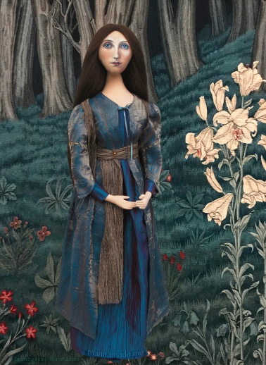 Georgiana muse set in a detail of a tapestry, designed by Edward Burne-Jones. Georgiana Burne-Jones muse designed, sculpted, modelled and painted by Marina ElphickGeorgiana Burne-Jones muse designed, sculpted, modelled and painted by Marina Elphick. Marina's muses at marinamade.me
