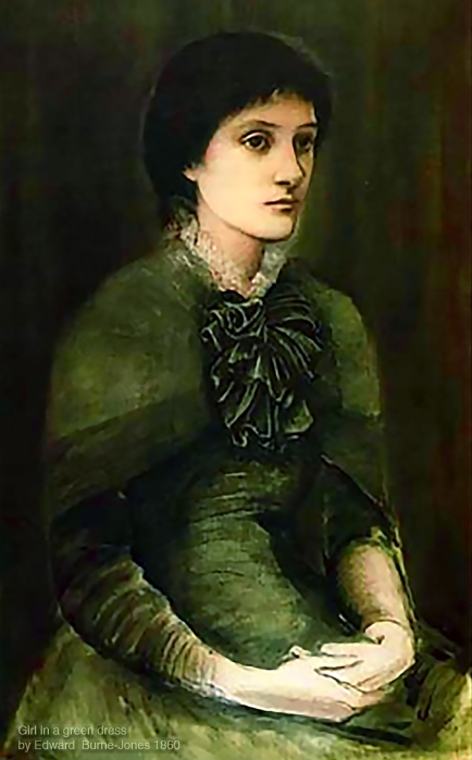 """Girl in a Green Dress"" 1860 by Edward Burne-Jones. Could this be an early portrait of young Georgiana Macdonald."