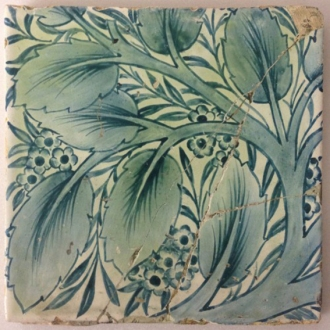 Hand painted tile in 'Bay and Willow' design from the Firm Morris & Co.Georgiana Burne-Jones