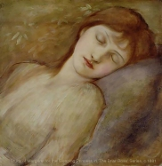 "Margaret as sleeping beauty, study for ""The Briar Rose""series, 1881 by Edward Burne-Jones."