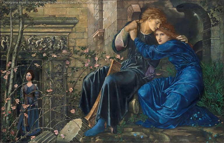 """Georgiana muse set in,""""Love Among The Ruins"""", by Edward Burne-Jones.Georgiana Burne-Jones muse designed, sculpted, modelled and painted by Marina Elphick.Georgiana Burne-Jones muse designed, sculpted, modelled and painted by Marina Elphick. Marina's muses at marinamade.me"""