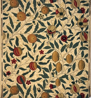 William Morris design, Pomegranate and Lemon wallpaper, produced by Morris & Co.Georgiana Burne-Jones