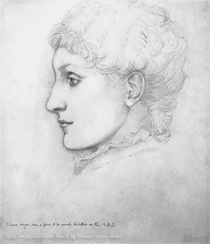 Pencil portrait of Georgiana Burne-Jones by Edward Burne-Jones.
