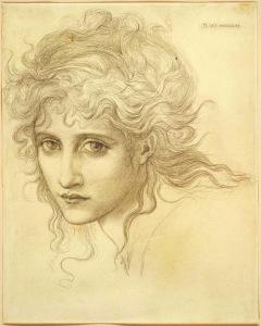 Pencil portrait of Maria Zambaco by Edward Burne-Jones.