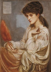 A portrait of Maria Zambaco, which was a study for 'Nimue' in 'The beguilling of Merlin', by Edward Burne-Jones.