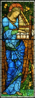 'Saint Cecilia' stained glass designed by Edward Burne-Jones.