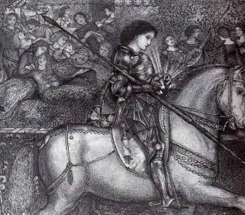 """Sir Galahad"", pen and ink drawing by Edward Burne-Jones, 1858."