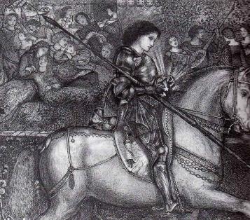 """Sir Galahad"", pen and ink drawing by Edward Burne-Jones, 1858."