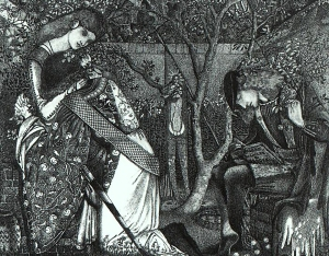 """The knight's Farewell"", an early pen and ink drawing by Edward Burne-Jones, 1858."