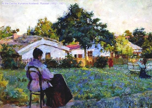 At the Dacha, a painting by Kyriakos Kostandi, Russian (1852 - 1921).