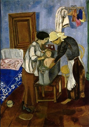 Bathing a Baby, 1916, tempera on cardboard, by Marc Chagall. Bella Rosenfeld, Bella Chagall.