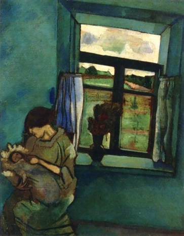 Bella and Ida at the Window, oil on cardboard, Marc Chagall 1916. Bella Rosenfeld, Bella Chagall.