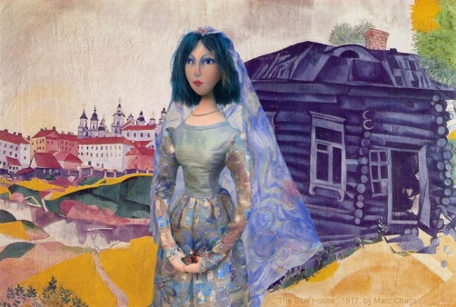 Bella by 'The Blue House', 1917, by Marc Chagall. Bella muse, Chagall's wife and eternal love and inspiration, made by Marina Elphick in soft sculpted form, as one of Marina's muses. Bella Rosenfeld, Bella Chagall.