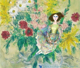 Bella in 'Fleurs dans un vase bleu', by Marc Chagall 1936. Bella muse, Chagall's wife and eternal love and inspiration, made by Marina Elphick in soft sculpted form, as one of Marina's muses. Bella Rosenfeld, Bella Chagall.