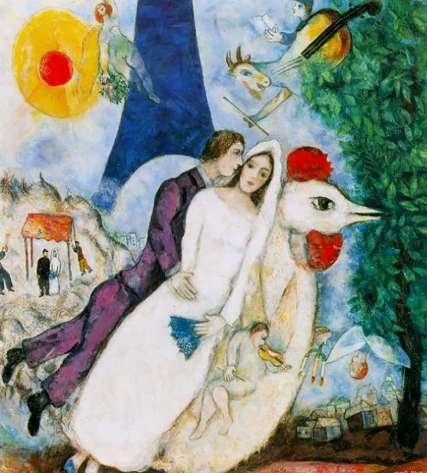 'Bride and Groom of The Eiffel Tower', 1938, Marc Chagall.